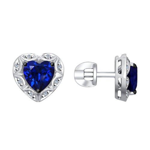 Серьги из белого золота с бриллиантами и синими корунд (синт.)