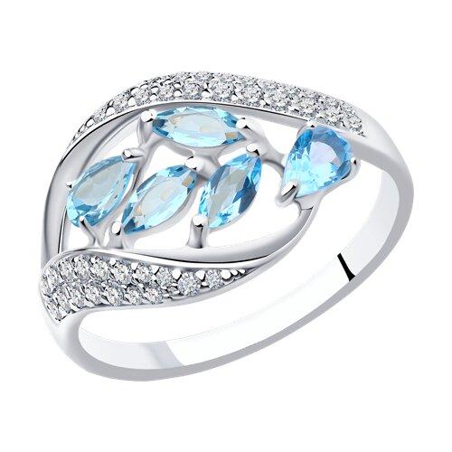 Кольцо SOKOLOV из серебра с голубыми топазами и фианитами фото