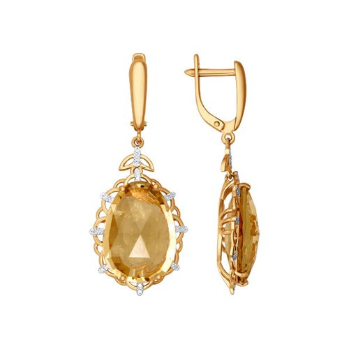 Серьги длинные из золота с бриллиантами и цитринами