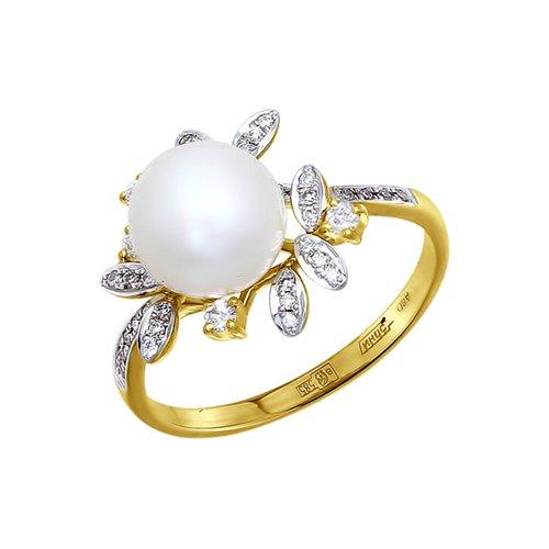 Фото - Кольцо SOKOLOV из жёлтого золота с бриллиантами и жемчугом кольцо с раухтопазами перидотами и бриллиантами из жёлтого золота