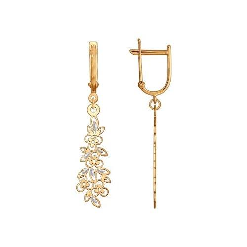 Серьги длинные из золота с алмазной гранью