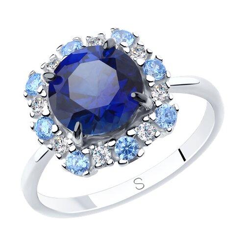 Кольцо из серебра с синим корунд (синт.) и фианитами