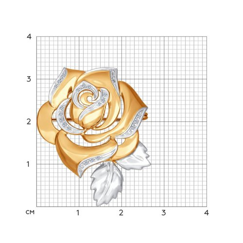 Брошь из золота с бриллиантами в виде розы (1040020) - фото №2