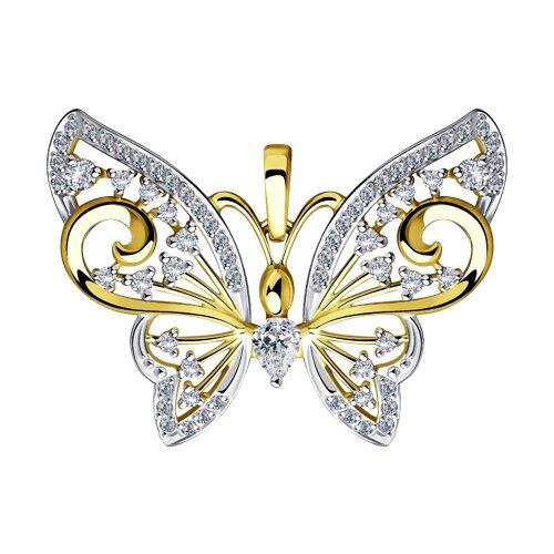 """Подвеска """"Бабочка"""" из желтого золота с фианитами"""