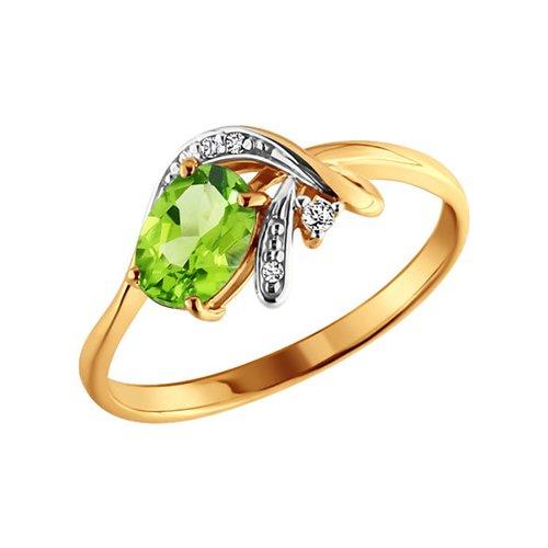 Золотое кольцо с хризолитом SOKOLOV золотое кольцо ювелирное изделие 01k663088