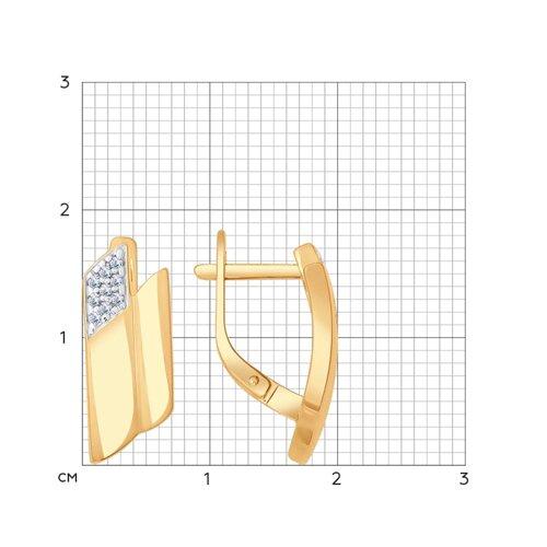 Серьги из золочёного серебра с фианитами (93020663) - фото №2