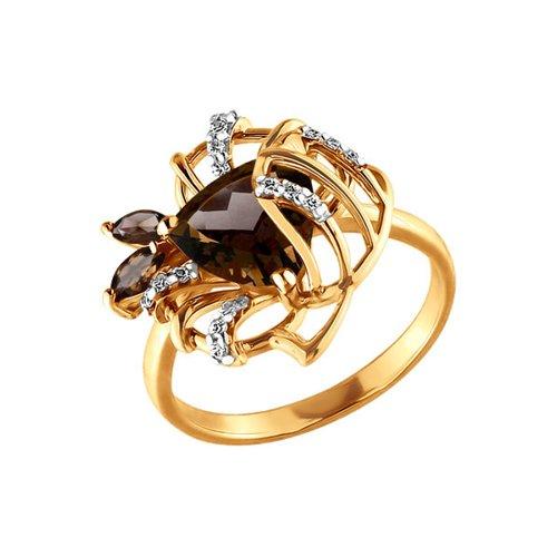 цена на Женское золотое кольцо с раухтопазами и фианитами