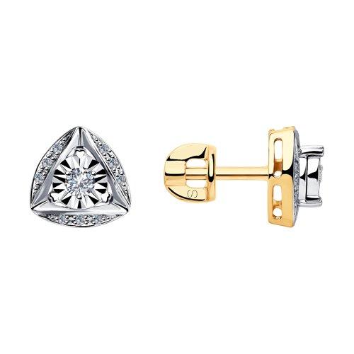 Серьги из комбинированного золота с бриллиантами (1021350) - фото