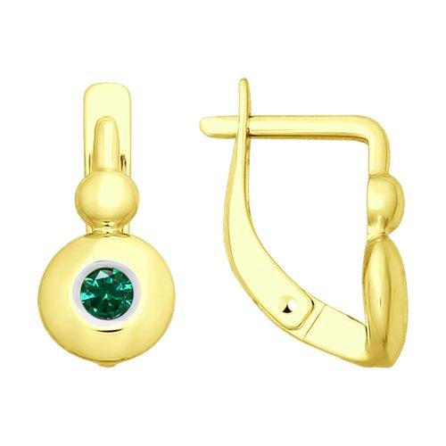 Серьги из желтого золота с фианитами (027830-2) - фото