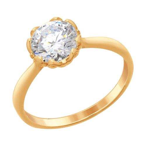 Кольцо из золочёного серебра со Swarovski Zirconia (89010102) - фото