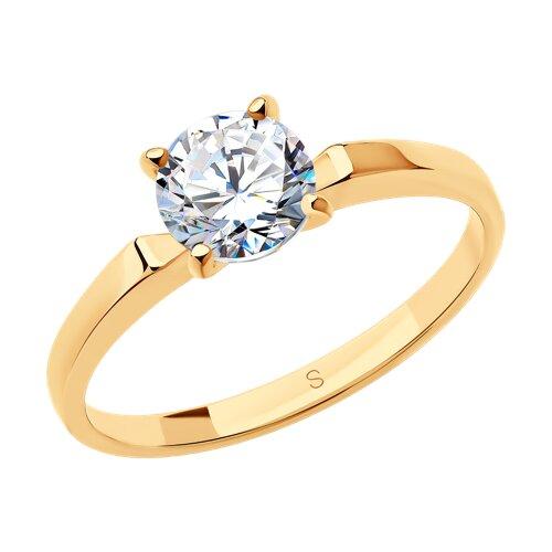 Узкое помолвочное кольцо из золота с фианитом (010184) - фото