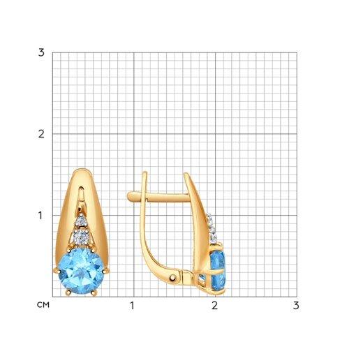 Серьги из золота с голубыми топазами и фианитами (724570) - фото №2
