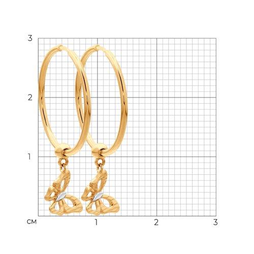 Серьги из золота с алмазной гранью 028006 SOKOLOV фото 2