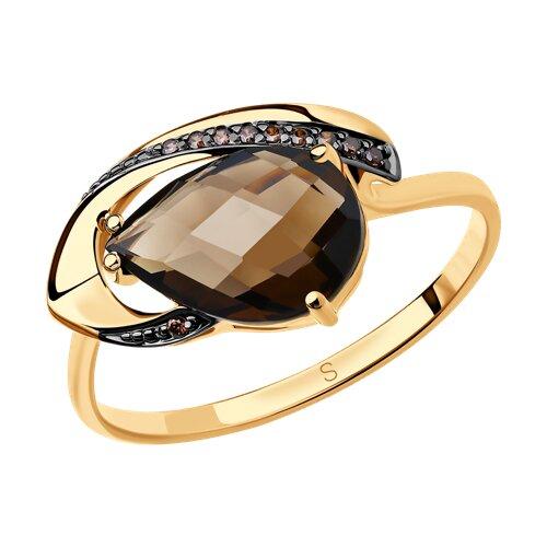 Кольцо из золота с раухтопазом и фианитами (714209) - фото