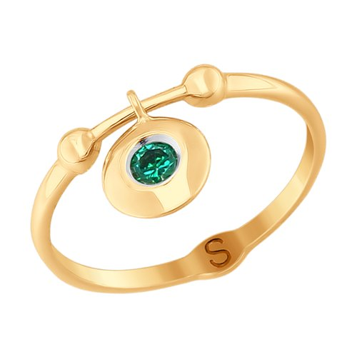 Кольцо из золота с фианитом (017755) - фото