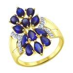 Кольцо из желтого золота с синими корундами (синт.) и фианитами