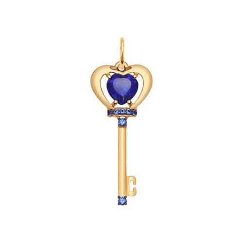 Подвеска «Ключик» из золота с корундами сапфировыми и синими фианитами