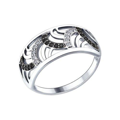 Кольцо SOKOLOV из серебра с бесцветными и чёрными фианитами кольцо sokolov из золота с бесцветными и чёрными фианитами