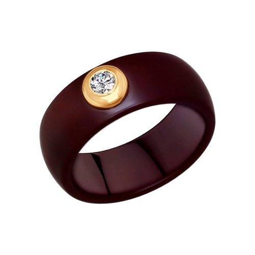 Кольцо из золота с керамическими вставками и фианитом