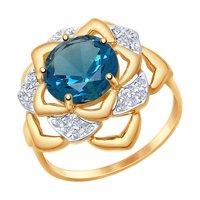 Кольцо из золота с синим ситаллом и фианитами