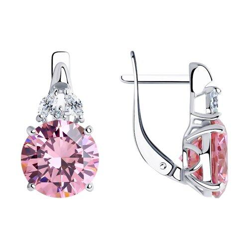 Серьги из серебра с розовыми фианитами (94021957) - фото