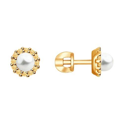 Серьги из золочёного серебра с жемчугом и фианитами (93020882) - фото