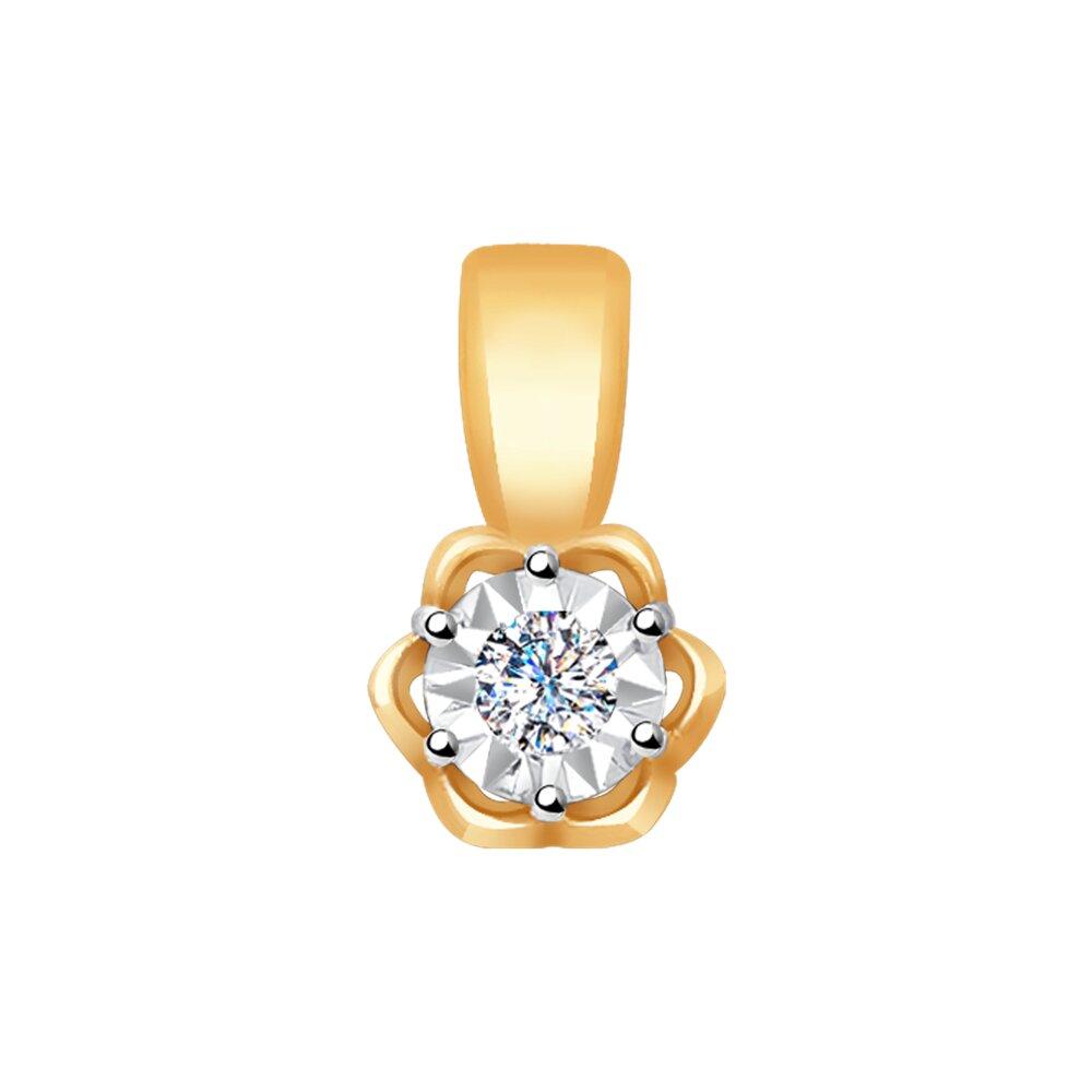 Подвеска SOKOLOV из комбинированного золота с алмазной гранью бриллиантом