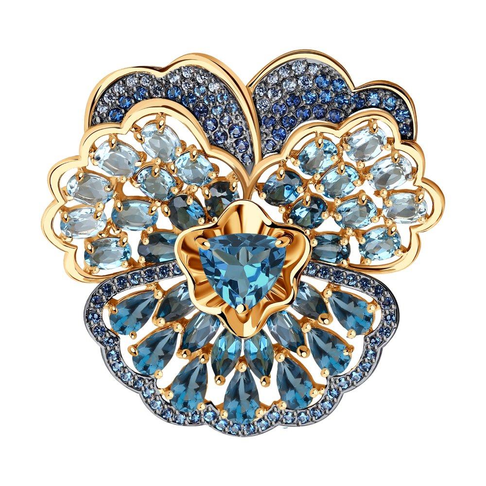 Брошь SOKOLOV из золота с голубыми и синими топазами и фианитами фото