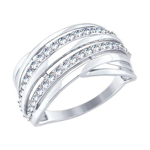 Кольцо из белого золота с фианитами 017707-3 SOKOLOV фото