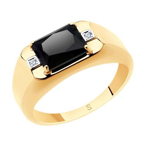 Кольцо из золота с ониксом и фианитами (715591) - фото