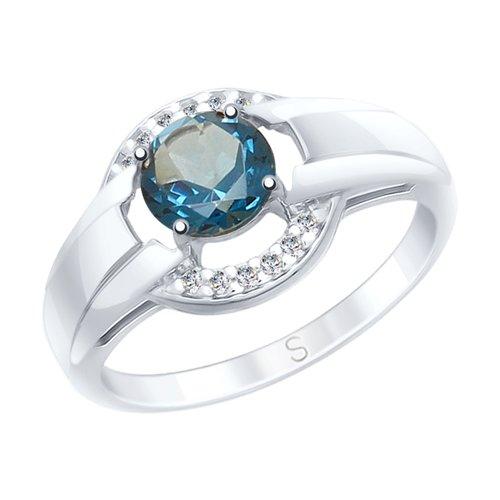 Кольцо из серебра с синим топазом и фианитами (92011569) - фото