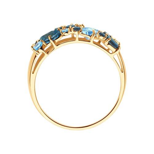 Кольцо из золота с синими топазами 714174 SOKOLOV фото 2