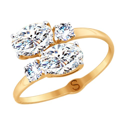 Кольцо из золота со Swarovski Zirconia (81010411) - фото