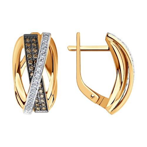 Серьги из золота с бриллиантами 1021504 sokolov фото