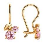 Серьги из золота с розовыми фианитами