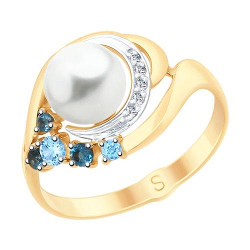 Кольцо из золота с миксом камней (791063) - фото
