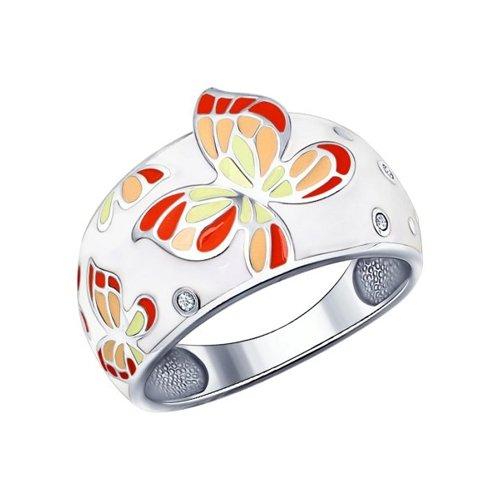 Белое кольцо с яркими бабочками SOKOLOV