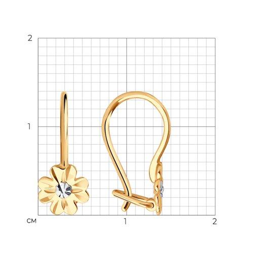 Серьги из золота с алмазной гранью (027797) - фото №2