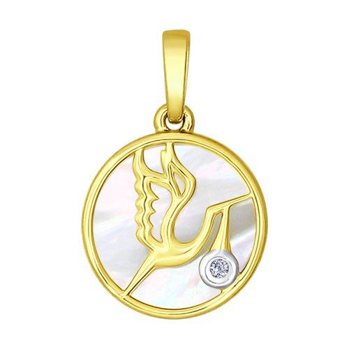 Подвеска из желтого золота «Аист»