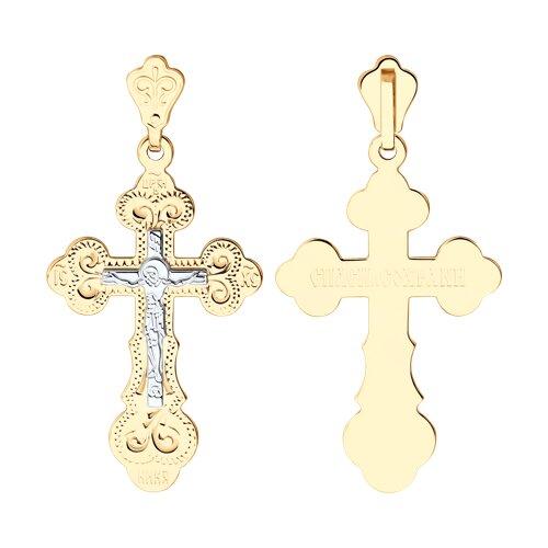 Крест из комбинированного золота с гравировкой (121022) - фото