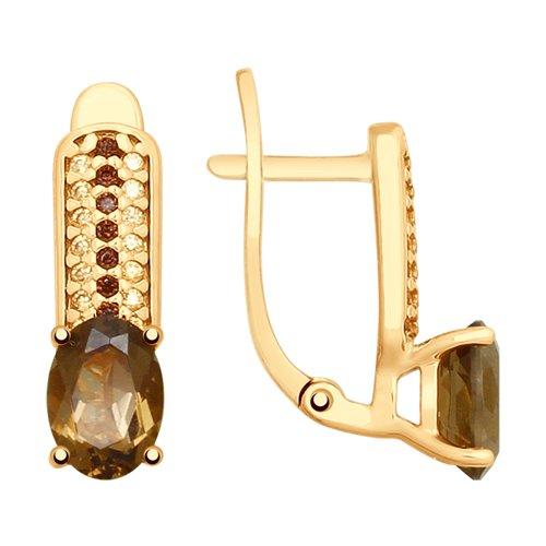 Серьги из золочёного серебра с раухтопазами и фианитами (92021789) - фото