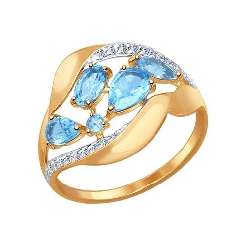 Кольцо из золота с голубыми топазами и фианитами