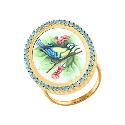 Золотое кольцо с финифтью «Синица» (781003) - фото