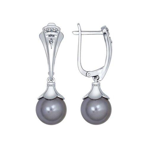 Серьги из серебра с чёрными жемчужинами Swarovski и фианитами (94022084) - фото