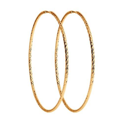Серьги конго из золота с алмазной гранью (140142) - фото