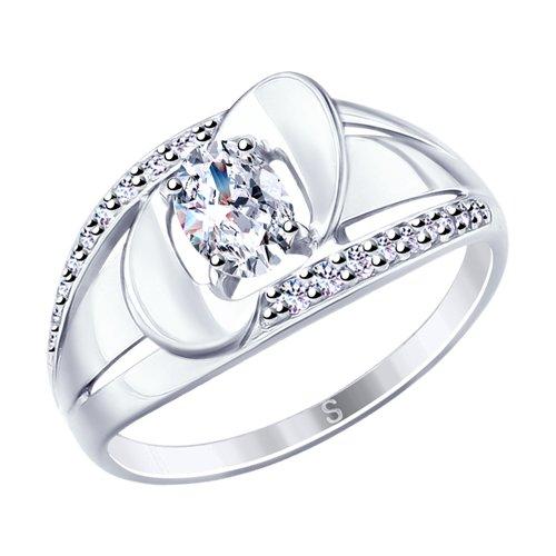 Кольцо из серебра с фианитами (94012689) - фото