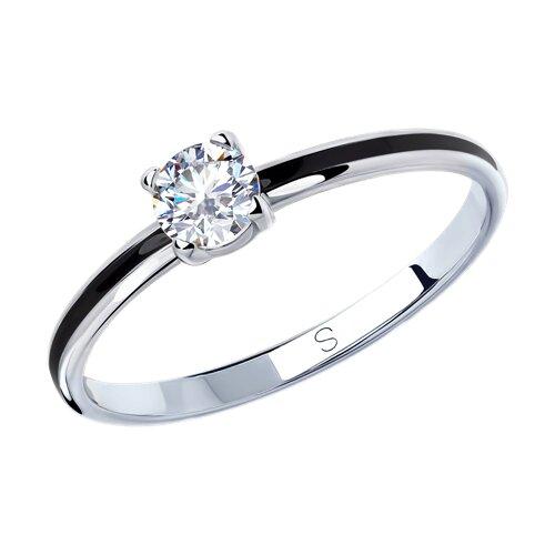 Кольцо из серебра с эмалью и фианитом (94012935) - фото