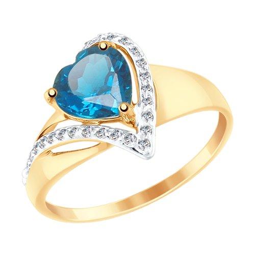 Кольцо из золота с синим топазом и фианитами (715040) - фото