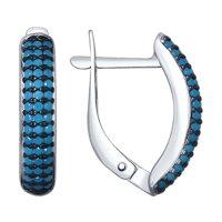 Серьги из серебра с голубыми ситаллами