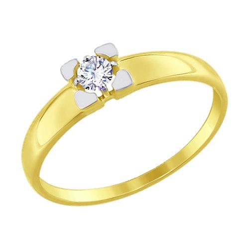Кольцо из желтого золота со Swarovski Zirconia (81010303-2) - фото